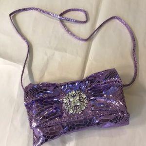 Lavender Iman clutch purse with strap